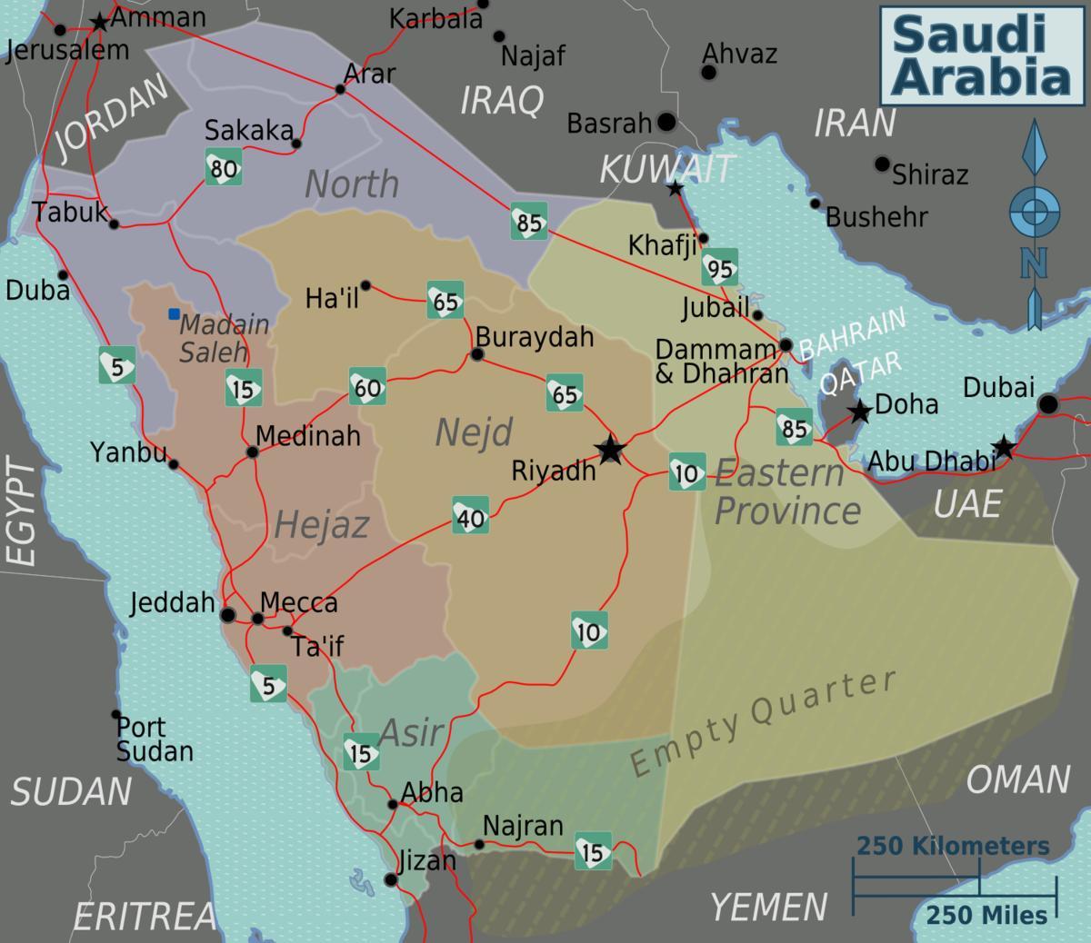 Map of Saudi Arabia with cities distance - Map of Saudi