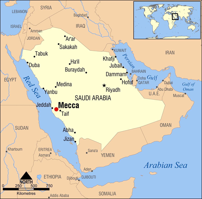 Mecca Saudi Arabia Map Mecca Saudi Arabia map   Map of mecca in Saudi Arabia (Western