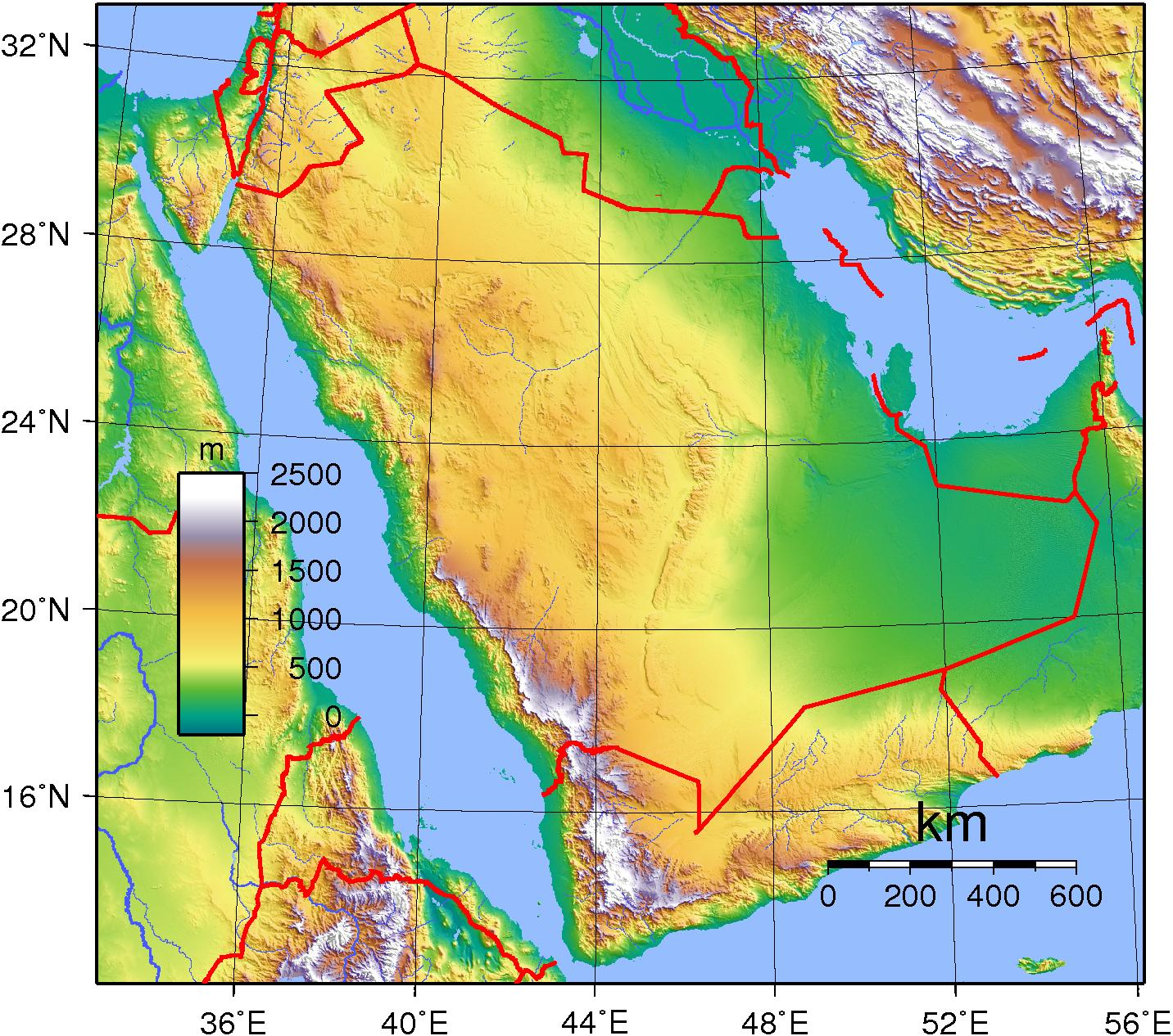 Saudi Arabia Elevation Map Map Of Saudi Arabia Elevation Western