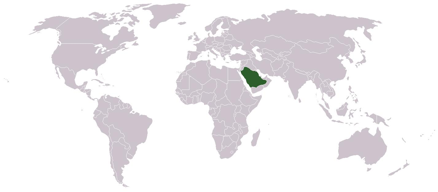 Saudi Arabia On World Map Saudi Arabia On A World Map Western