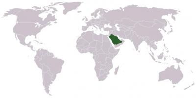 Saudi Arabia on a world map